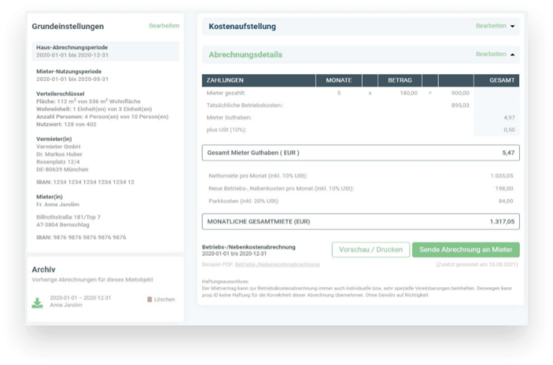 Betriebskosten Abrechnung online